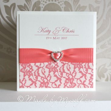 Ribbon Heart Lace Pocketfold Wedding Invitation